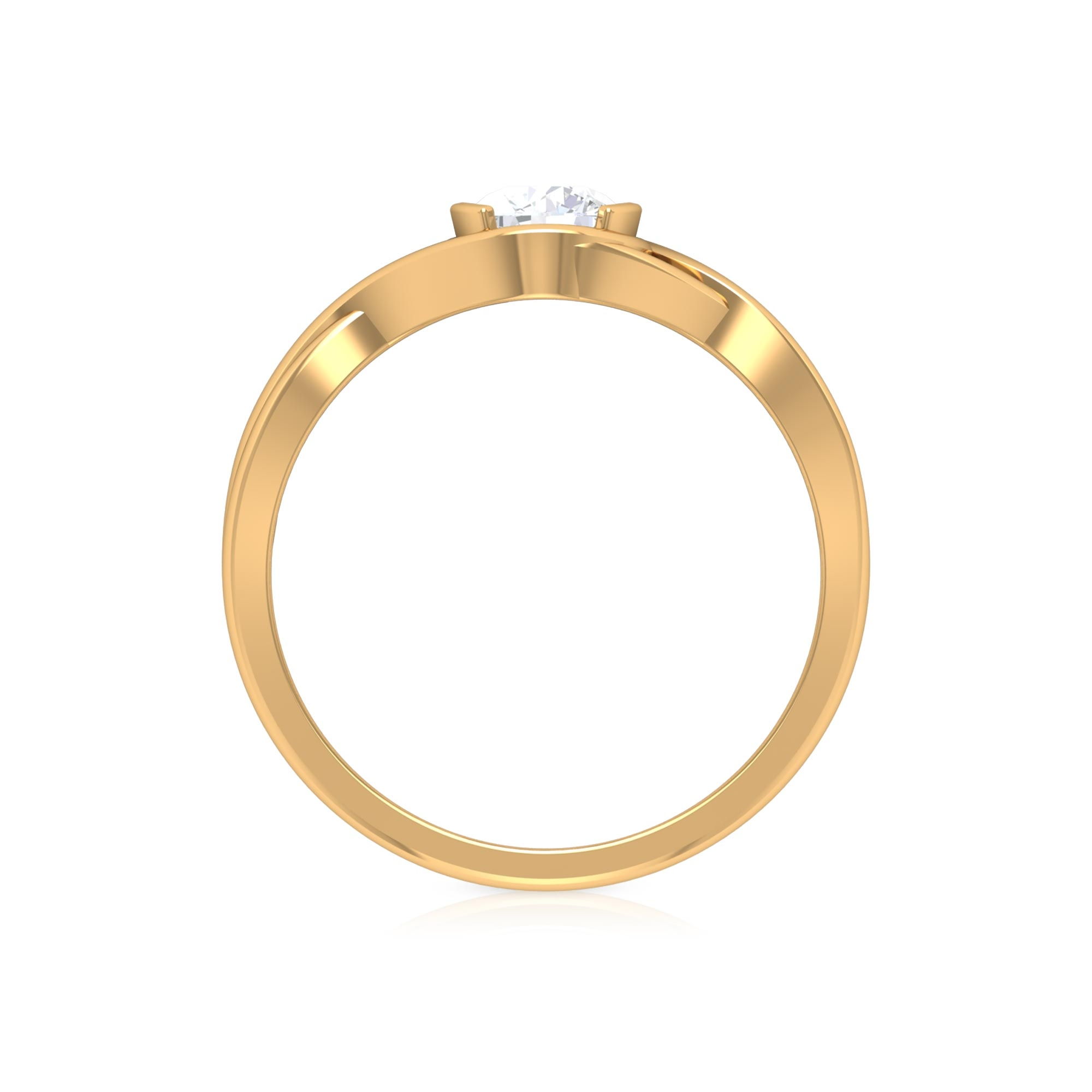1/2 CT Solitaire Diamond Crossover Ring in Half Bezel Setting