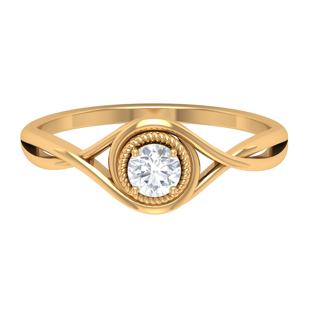 April Birthstone 1/4 CT Rope Frame Solitaire Diamond Crossover Ring