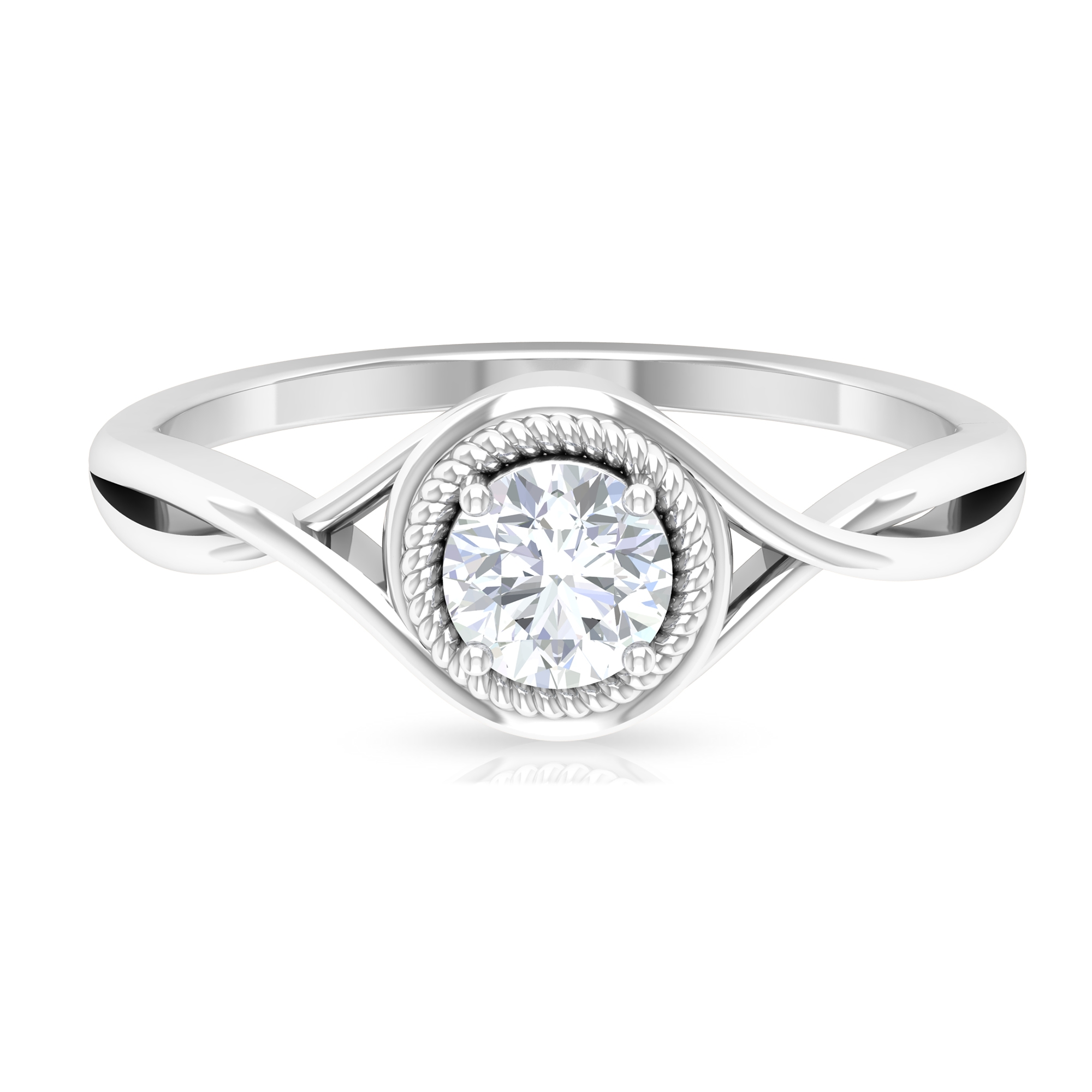 1/2 CT Rope Frame Solitaire Diamond Crossover Ring
