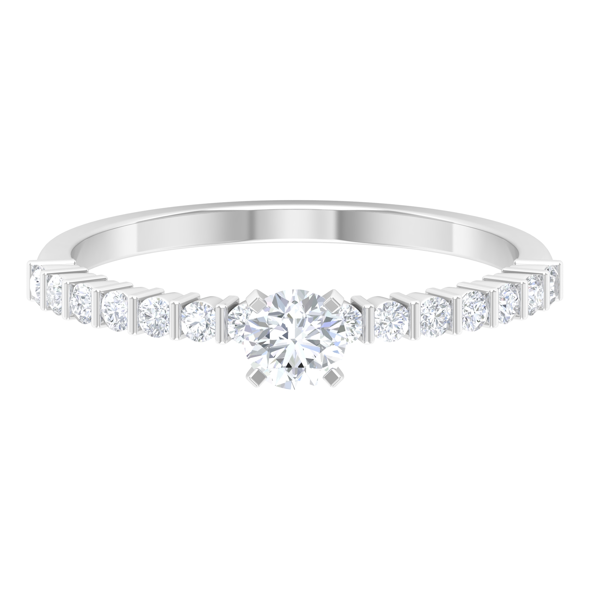 1/2 CT Square Prong Set Solitaire Diamond Ring with Bar Set Side Stones