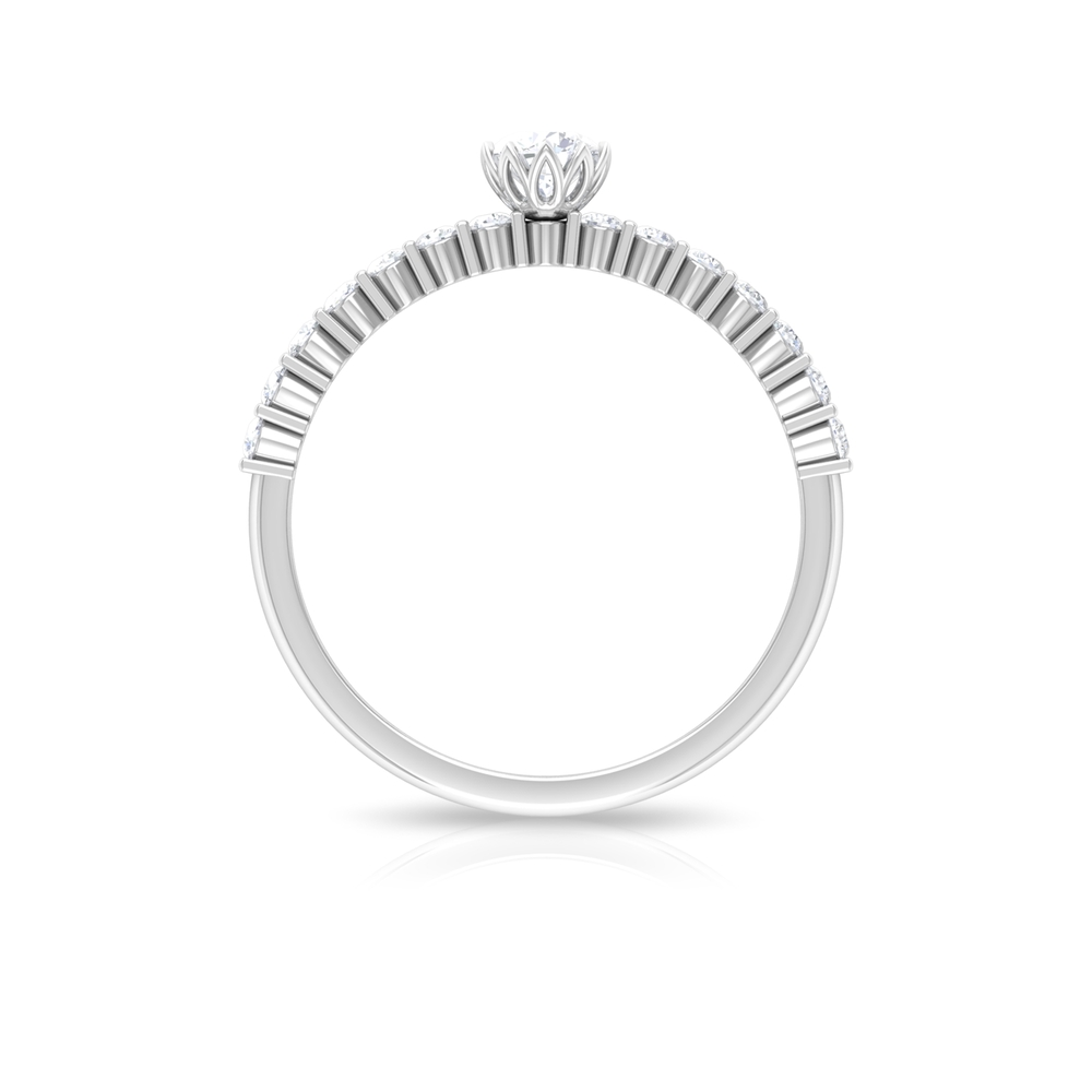 1/2 CT Diamond Solitaire Promise Ring with Side Stones
