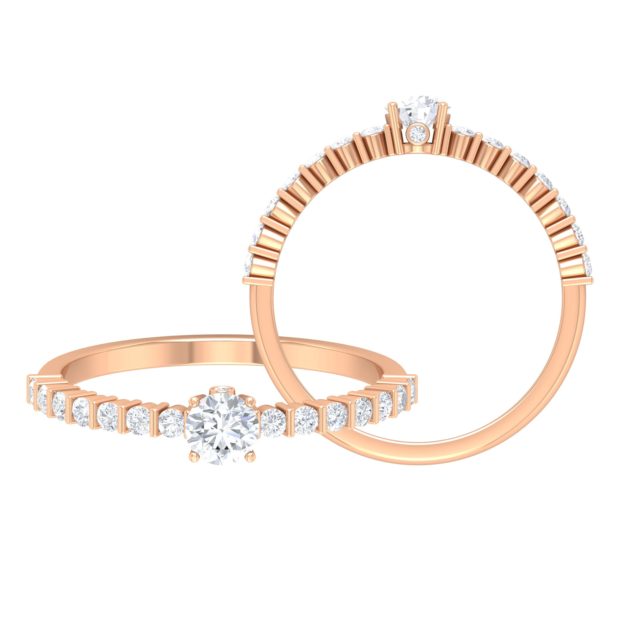 1/2 CT Round Cut Solitaire and Surprise Diamond Ring with Bar Set Side Stones
