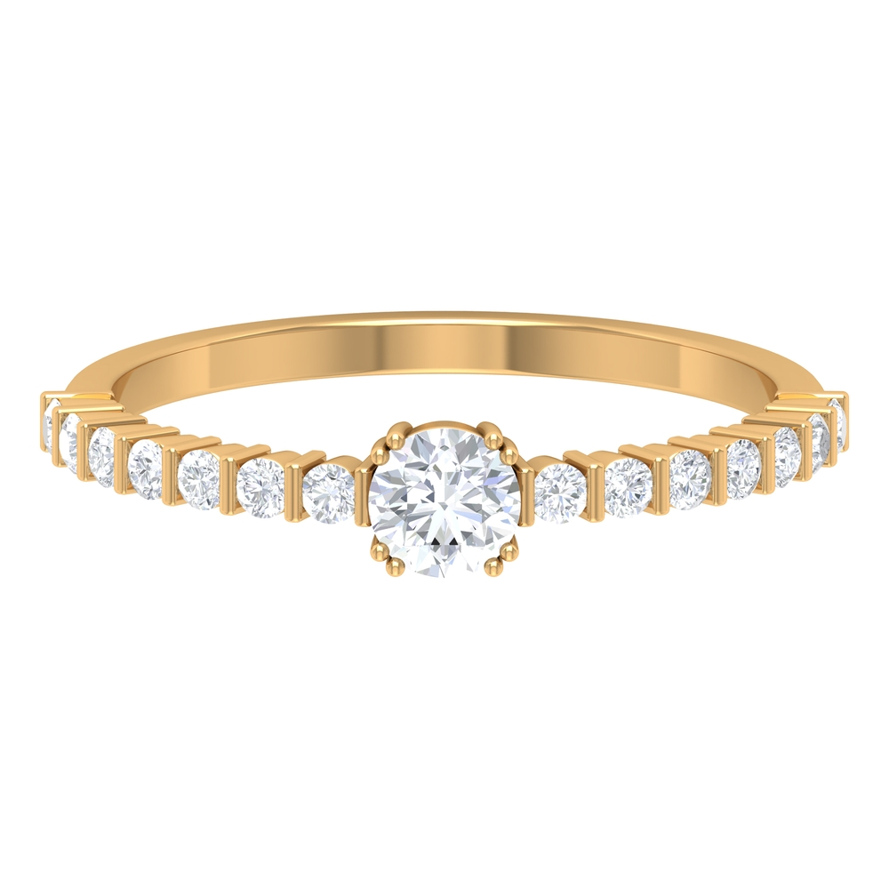 1/2 CT Solitaire Diamond Side Stone Engagement Ring