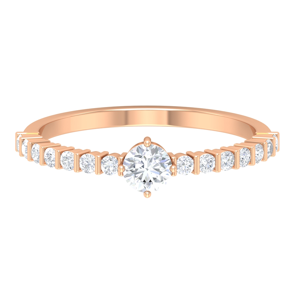 1/2 CT Round Cut Diamond Solitaire Engagement Ring with Side Stones