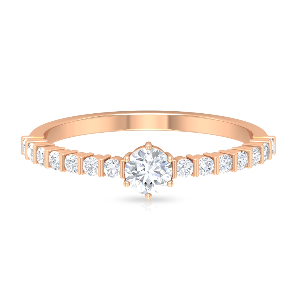 1/2 CT Six Prong Set Solitaire Diamond Ring with Bar Set Side Stones