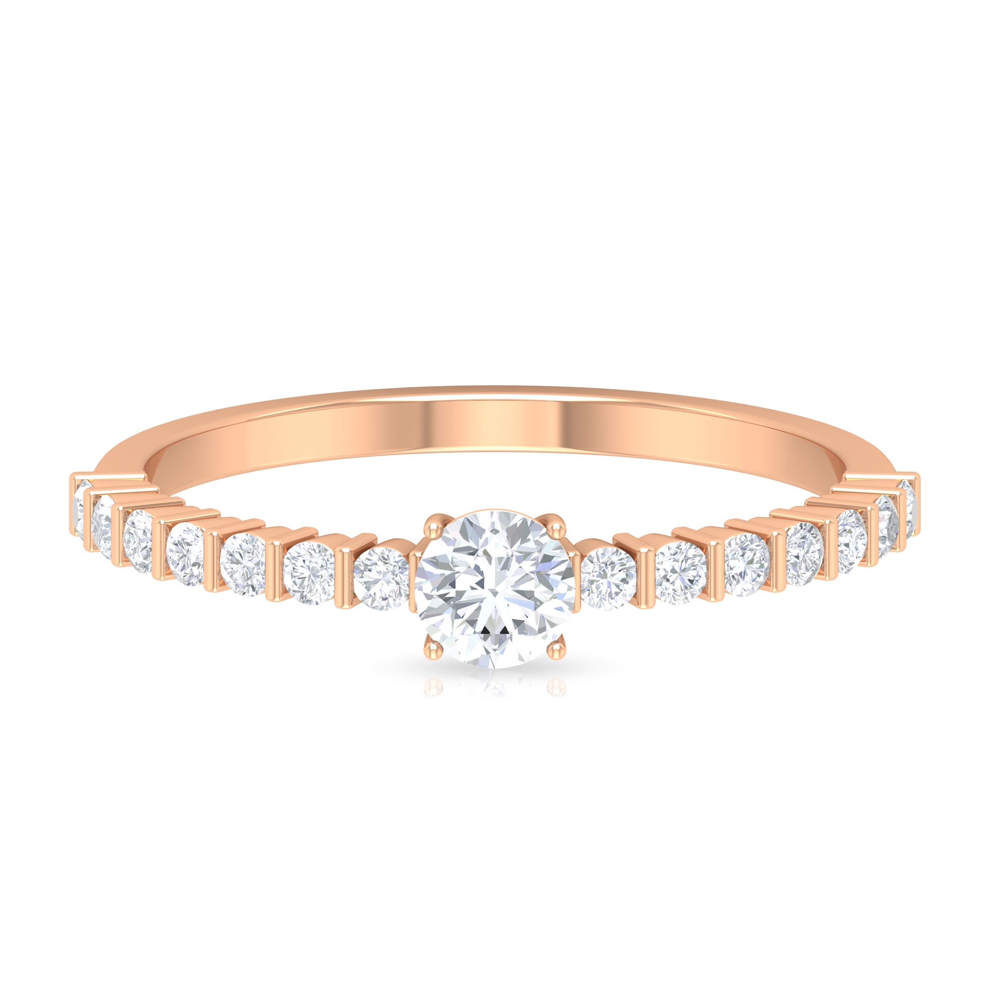 April Birthstone 1/2 CT Four Prong Set Solitaire Diamond Ring with Bar Set Side Stones