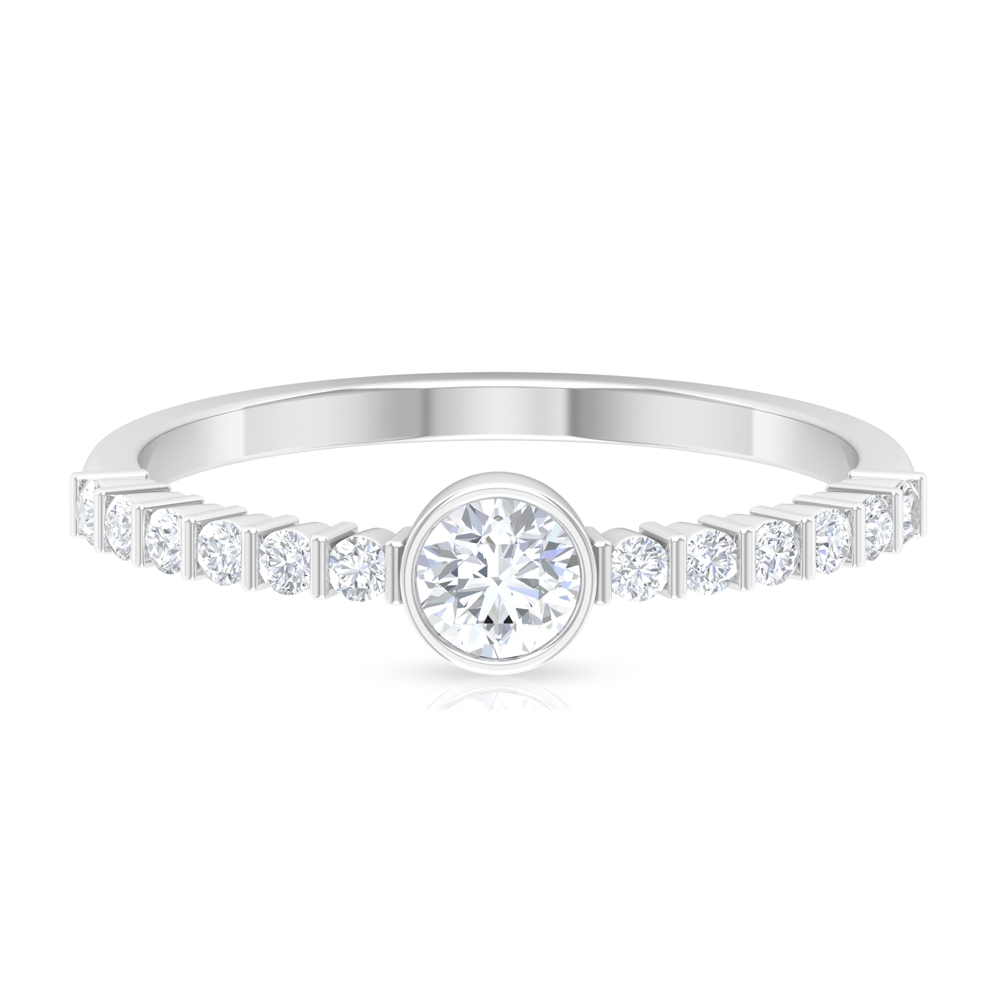 1/2 CT Bezel Set Solitaire Diamond Ring with Bar Set Side Stones