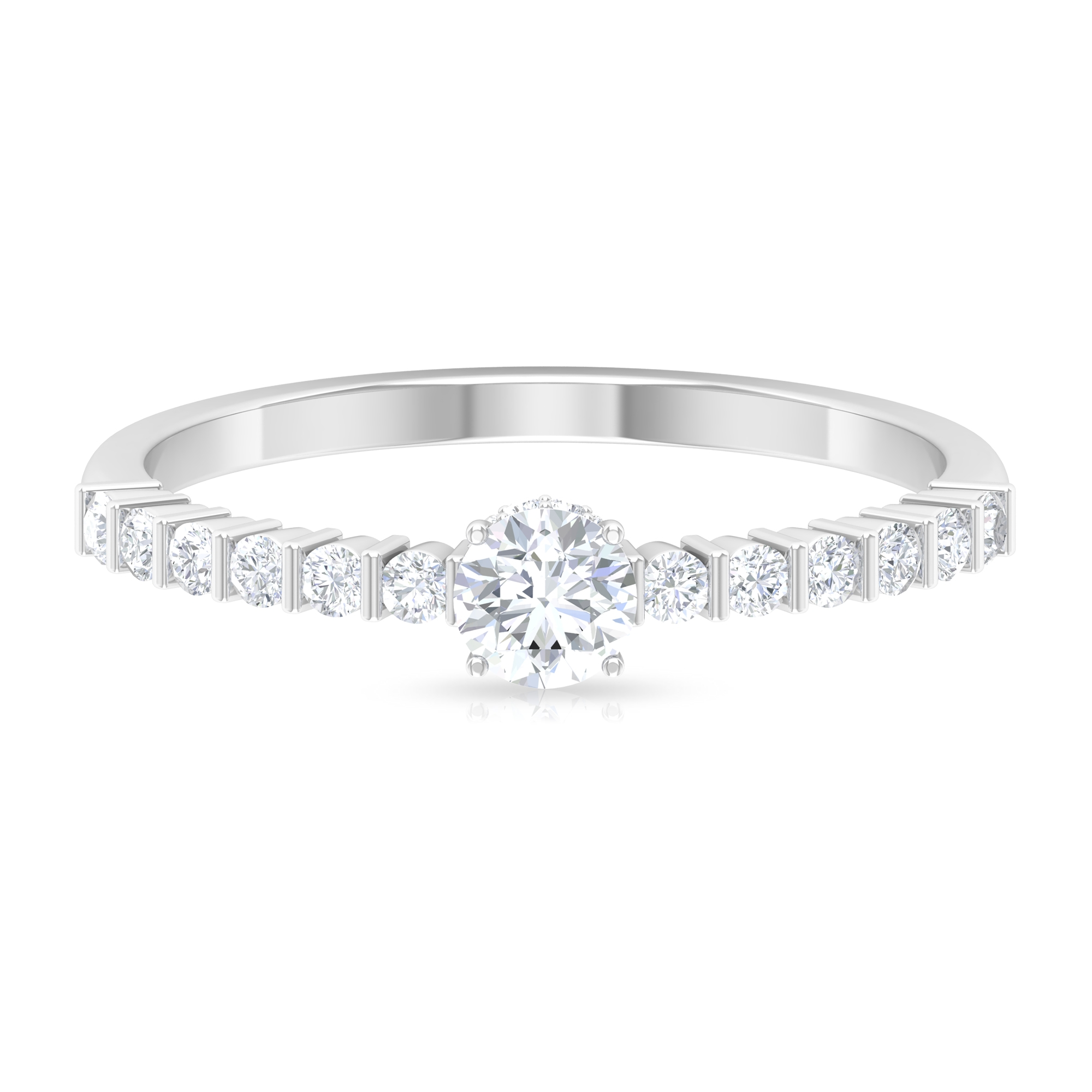 April Birthstone 1/2 CT Solitaire Diamond Ring with Hidden Halo and Bar Set Side Stones