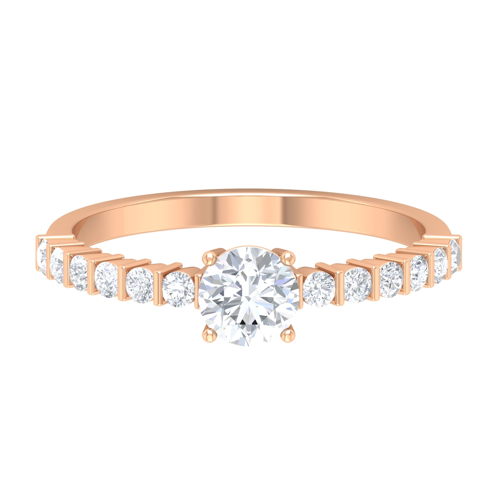 3/4 CT Four Prong Set Solitaire Diamond Ring with Bar Set Side Stones