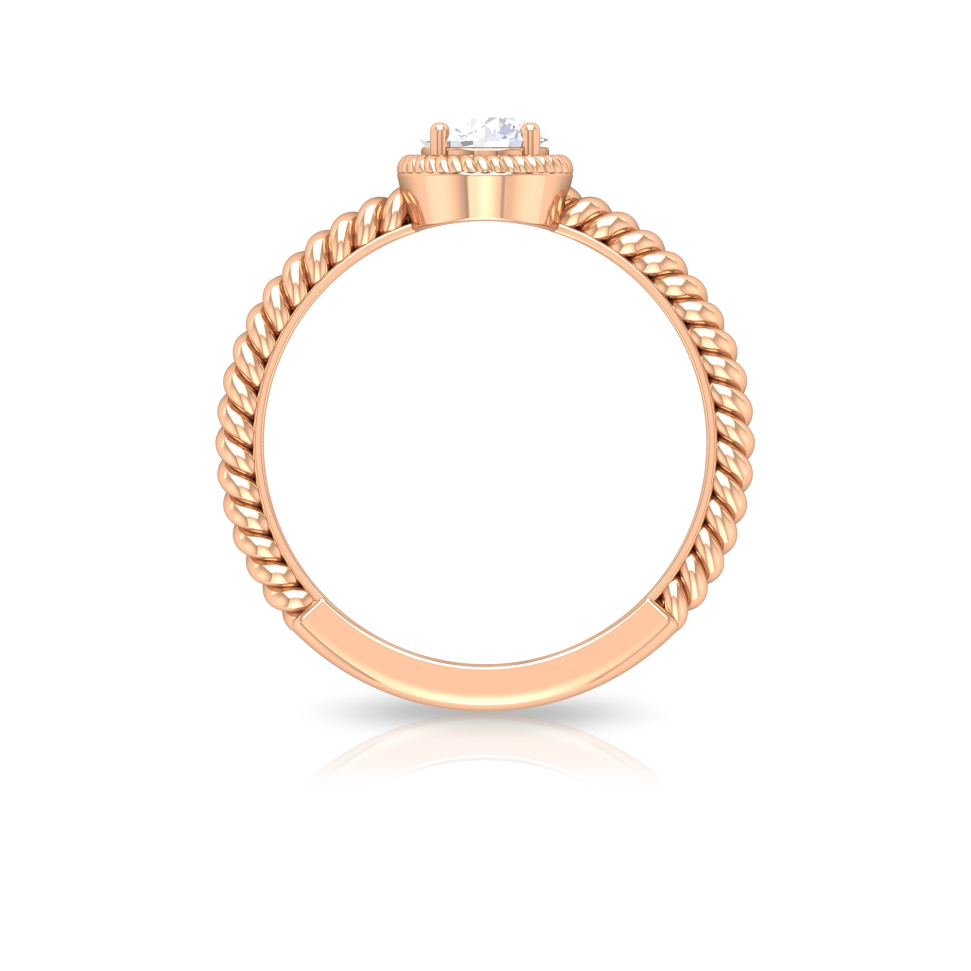 5 MM Round Cut Diamond Solitaire Ring with Gold Twisted Rope Band