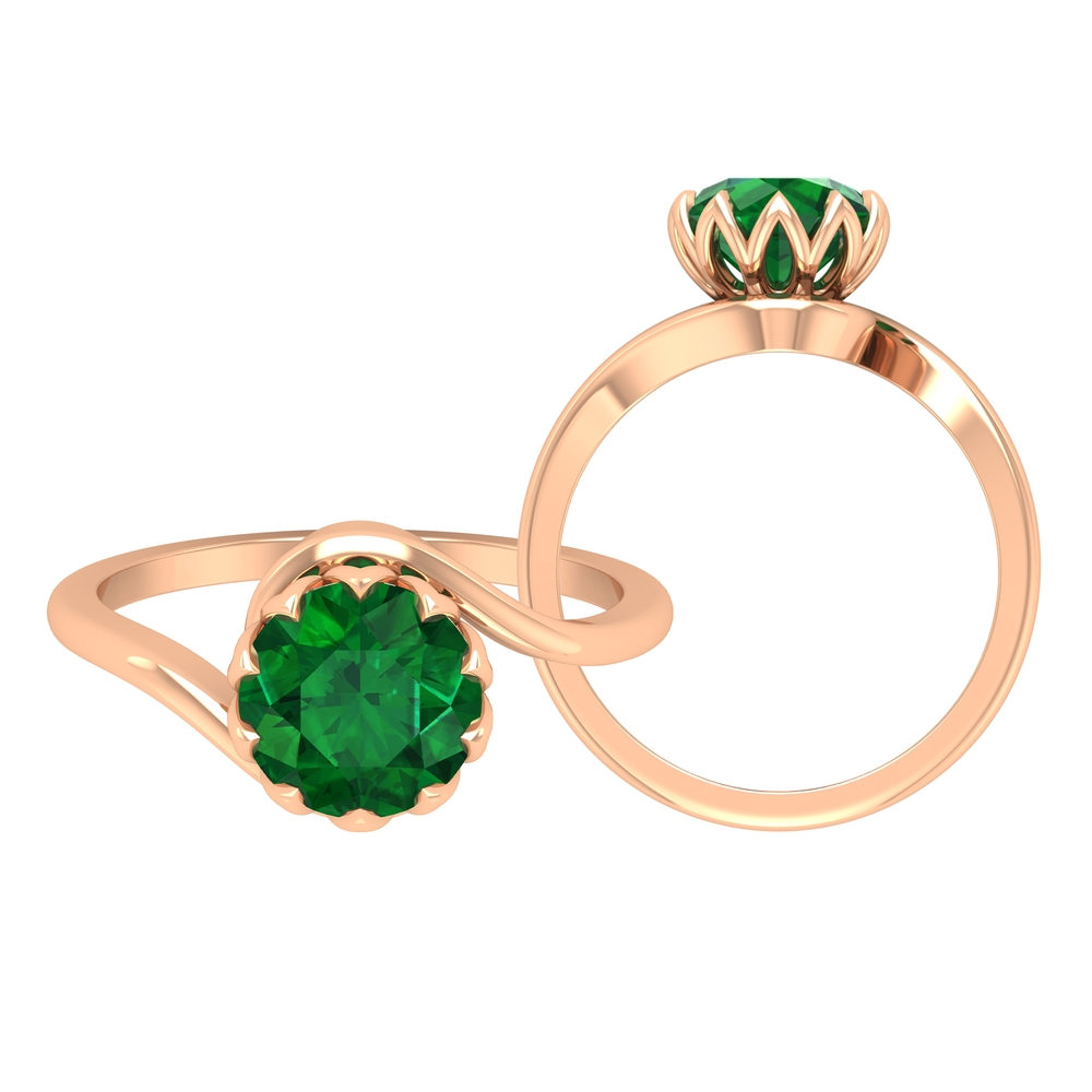 8 MM Lotus Basket Set Emerald Solitaire Bypass Ring