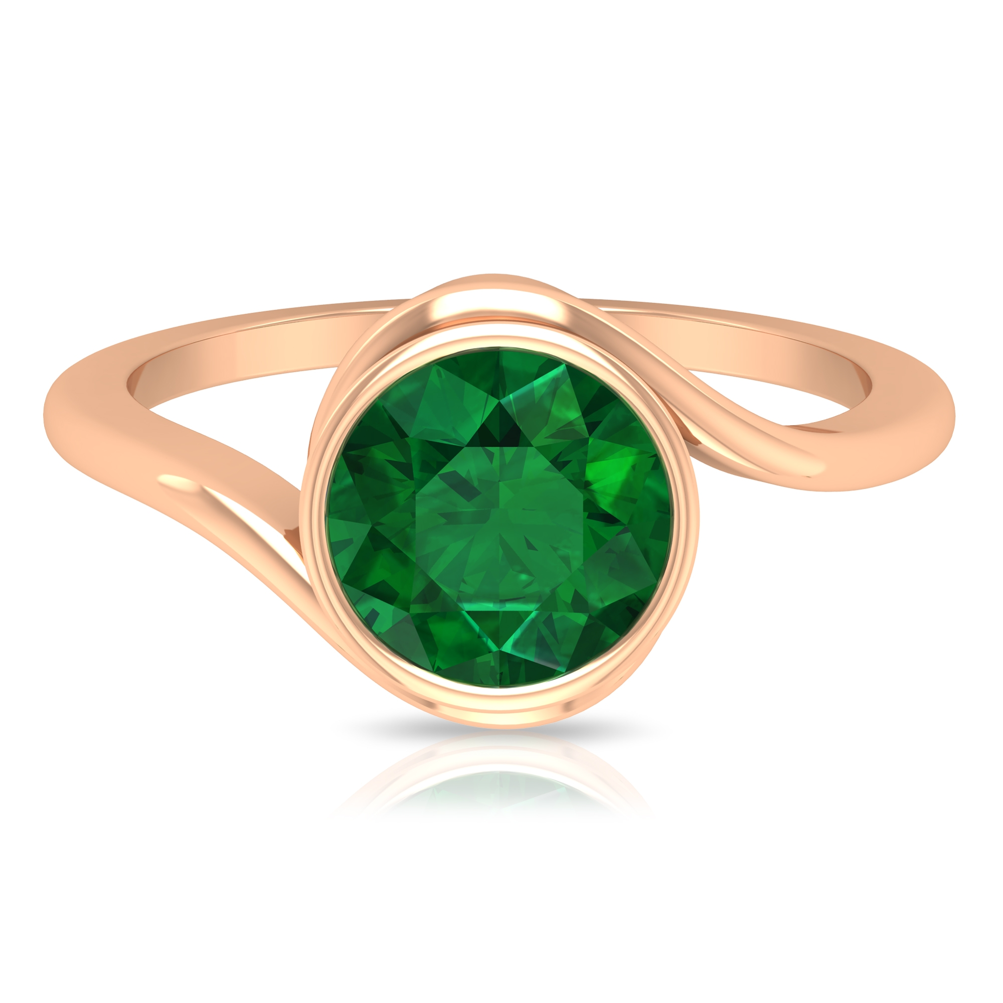 May Birthstone 8 MM Bezel Set Emerald Solitaire Bypass Ring