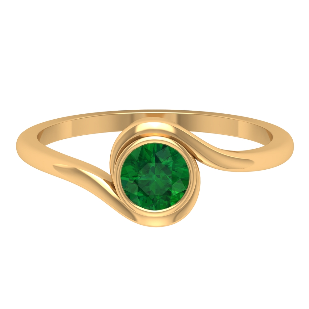 May Birthstone 5 MM Emerald Solitaire Ring in Bezel Setting with Bypass Shank
