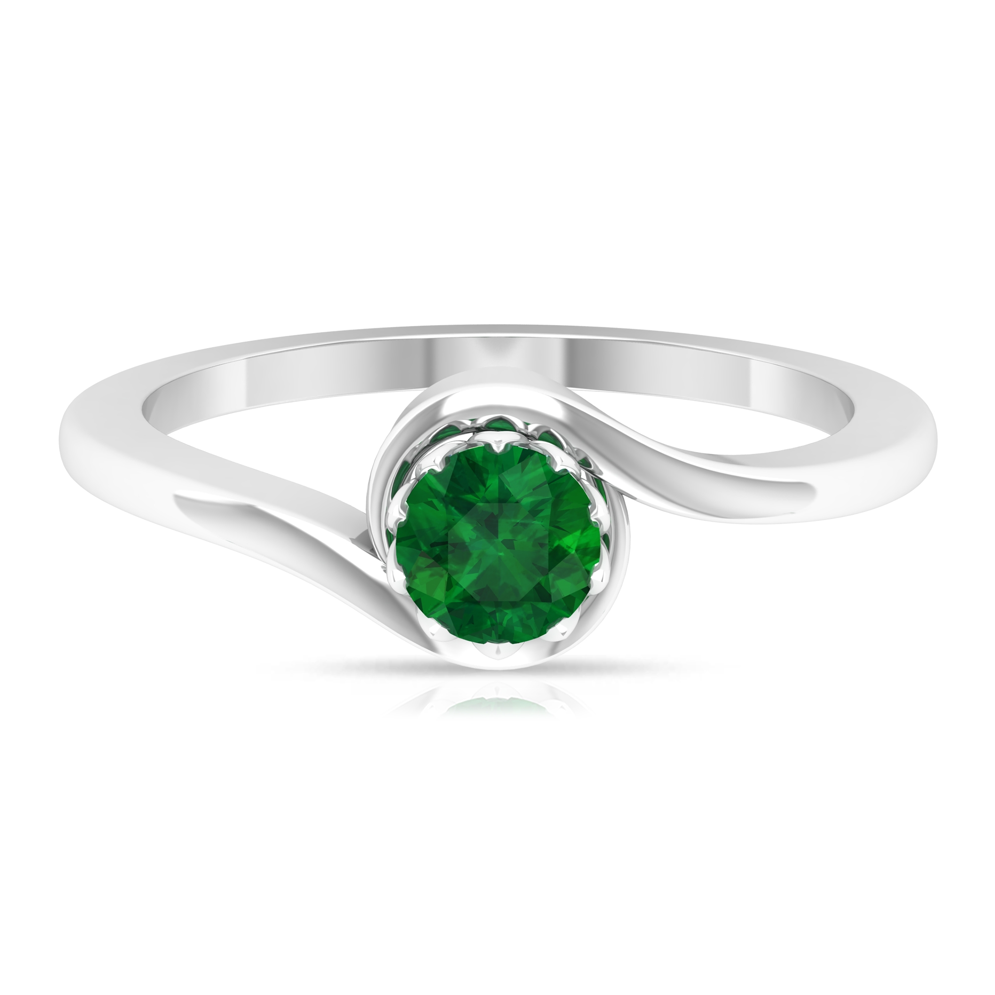 May Birthstone 5 MM Emerald Solitaire Ring in Lotus Basket Setting with Bypass Shank