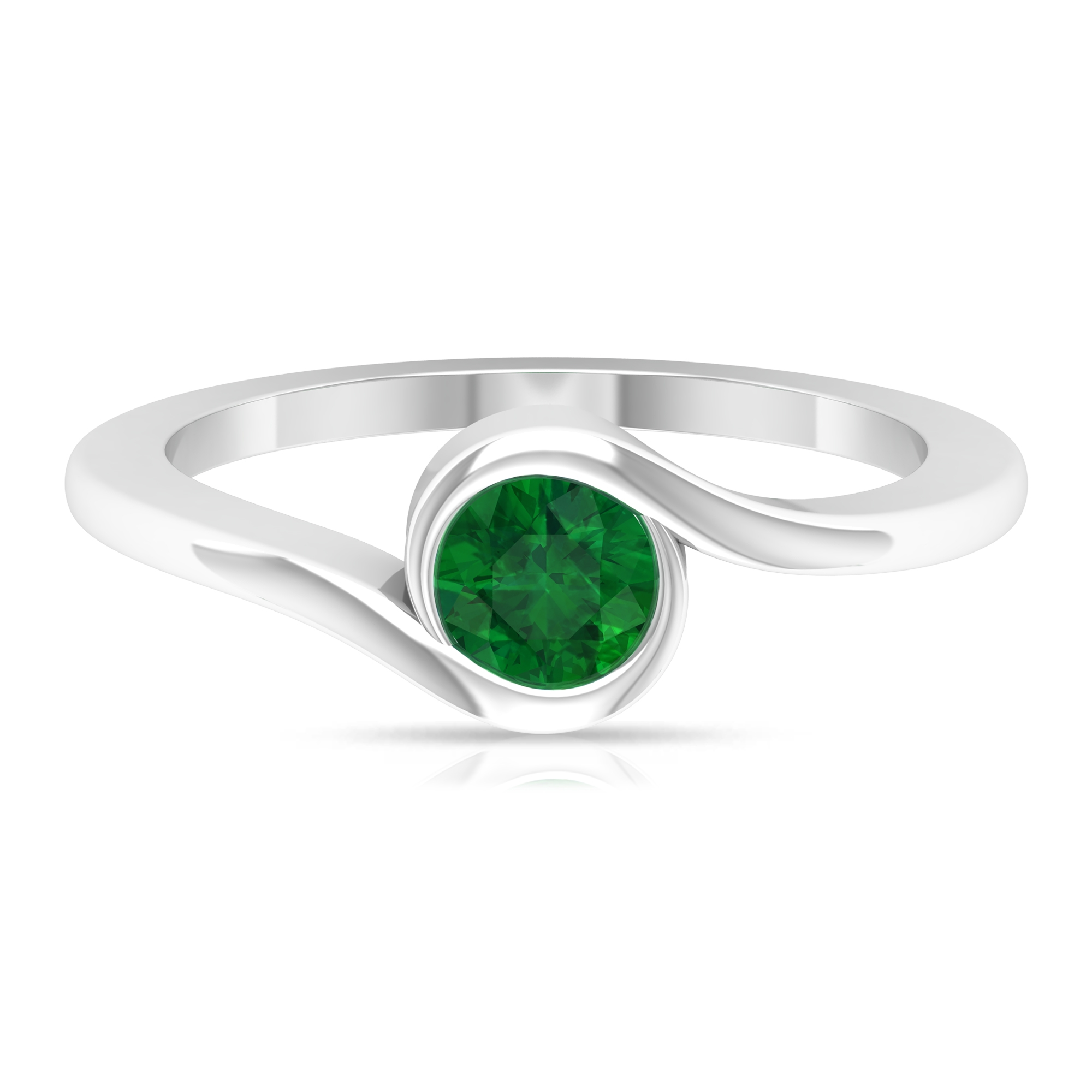 May Birthstone 5 MM Round Cut Emerald Solitaire Ring in Bypass Setting