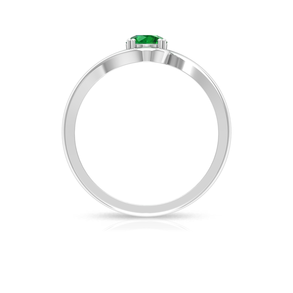 May Birthstone 5 MM Emerald Solitaire Ring in Double Prong Setting with Bypass Shank