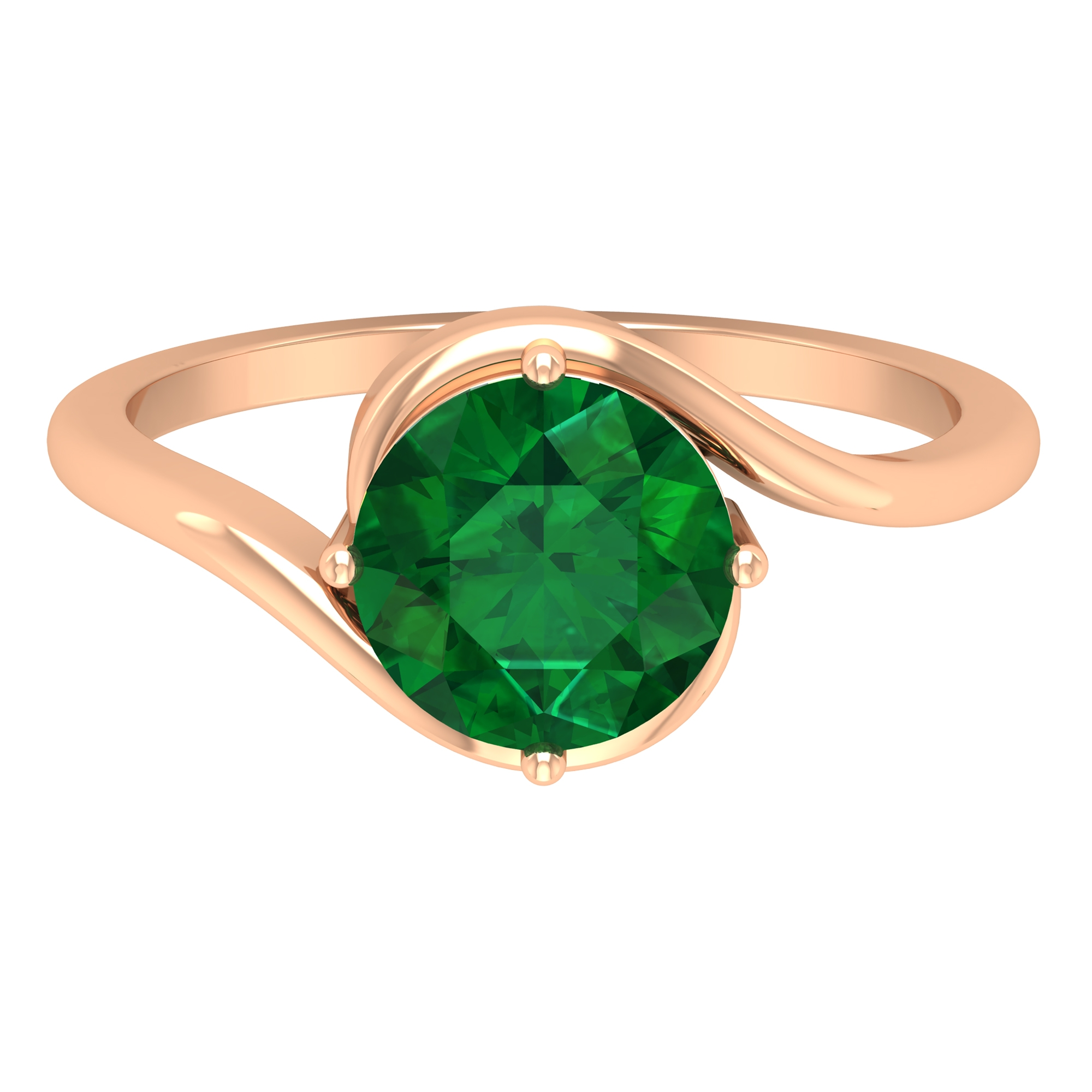 May Birthstone 8 MM Four Prong Diagonal Set Emerald Solitaire Bypass Ring