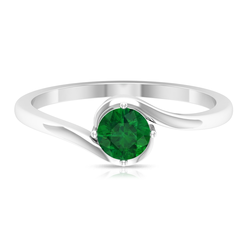 May Birthstone 5 MM Emerald Solitaire Ring in 4 Prong Diagonal Setting with Bypass Shank