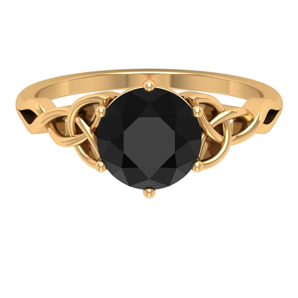 2.25 CT Solitaire Black Diamond Celtic Engagement Ring in 6 Prong Setting