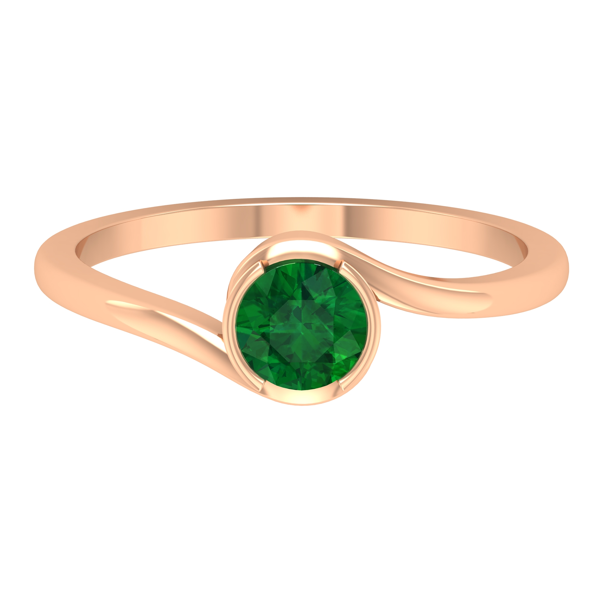 May Birthstone 5 MM Emerald Solitaire Ring in Half Bezel Setting with Bypass Shank