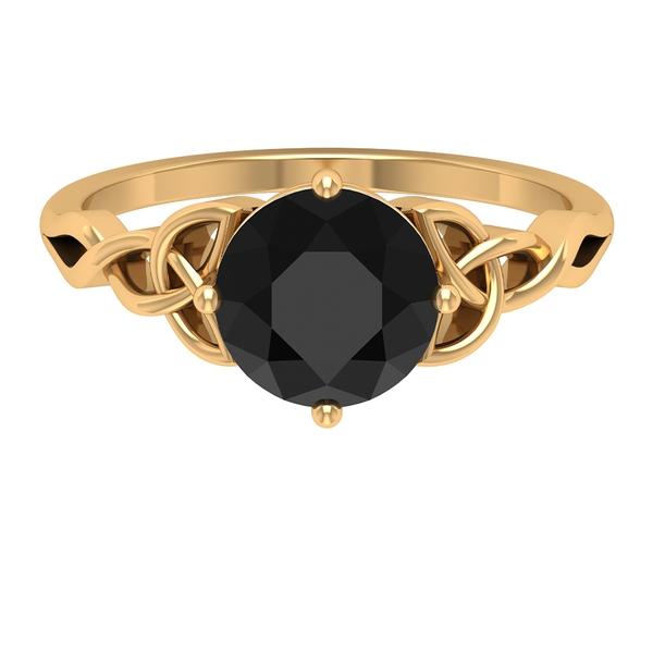 2.25 CT Solitaire Black Diamond Celtic Engagement Ring in 4 Prong Diagonal Setting