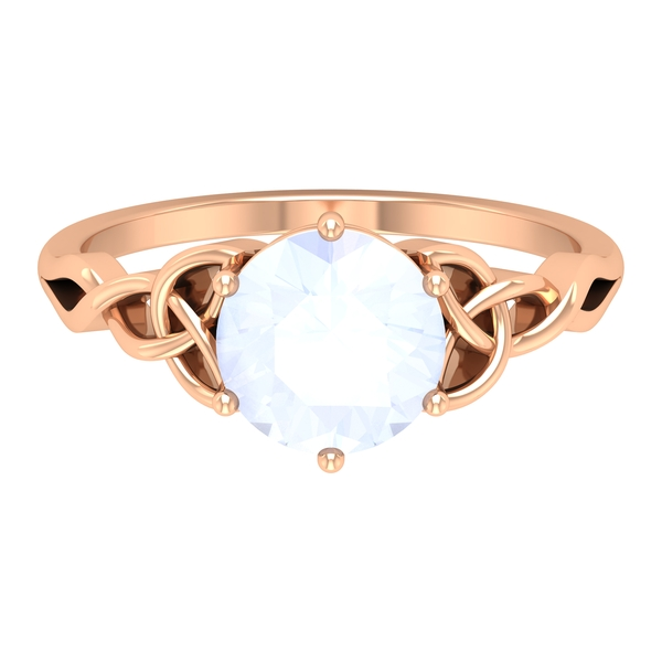 3/4 CT Solitaire Moonstone Celtic Engagement Ring in 6 Prong Setting