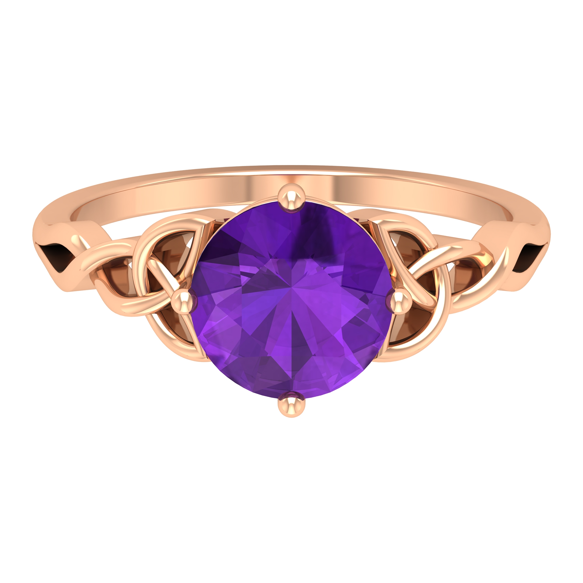 1.75 CT Solitaire Amethyst Celtic Engagement Ring in 4 Prong Diagonal Setting