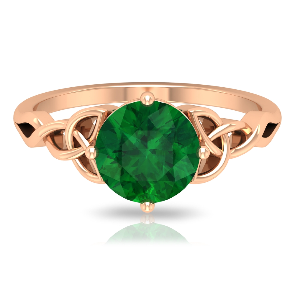 May Birthstone 8 MM Emerald Solitaire Ring in 4 Prong Diagonal Setting with Celtic Knot