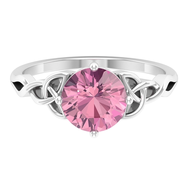 2 CT Solitaire Pink Tourmaline Celtic Engagement Ring in 4 Prong Diagonal Setting