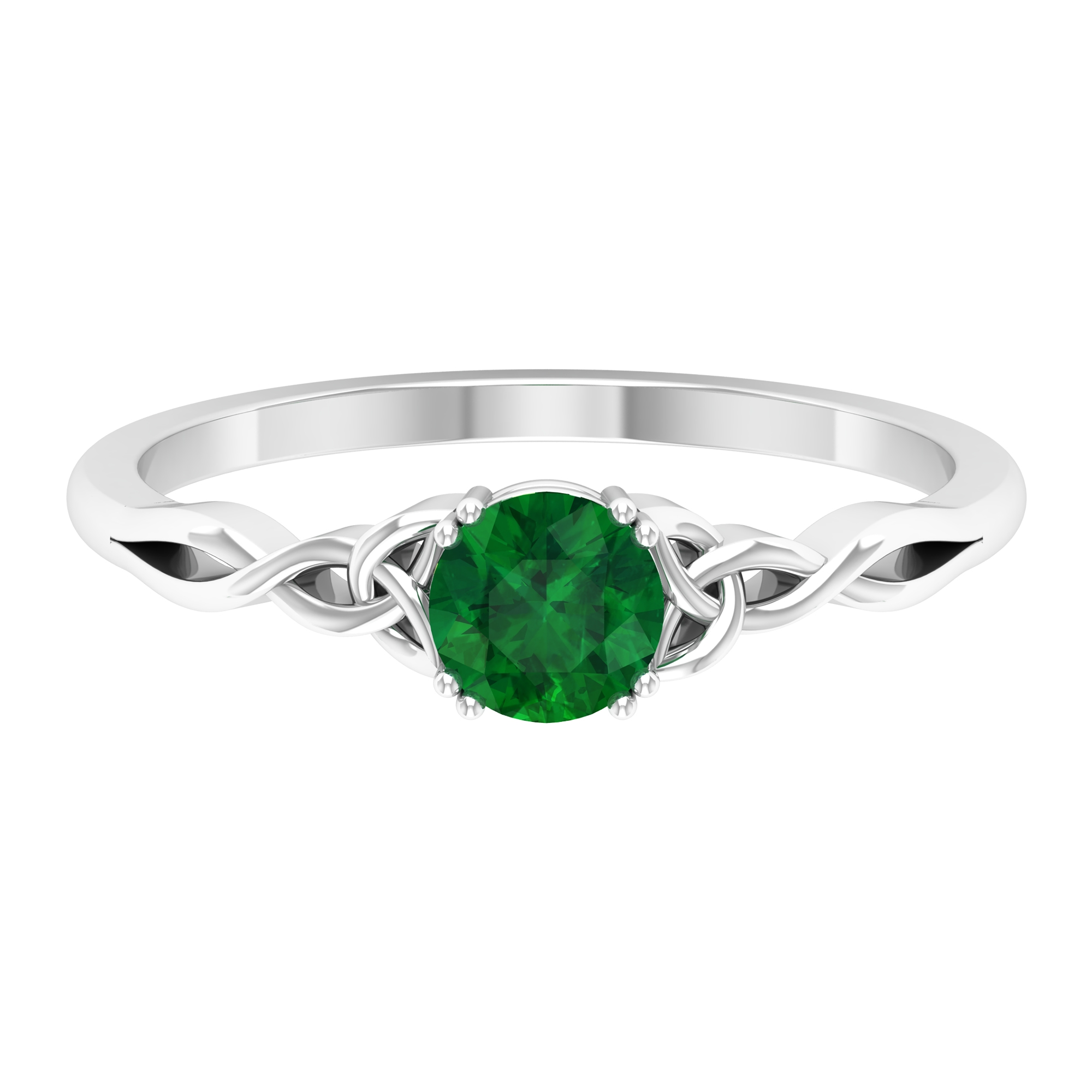5 MM Round Cut Emerald Solitaire Ring in Double Prong Setting with Celtic Shank
