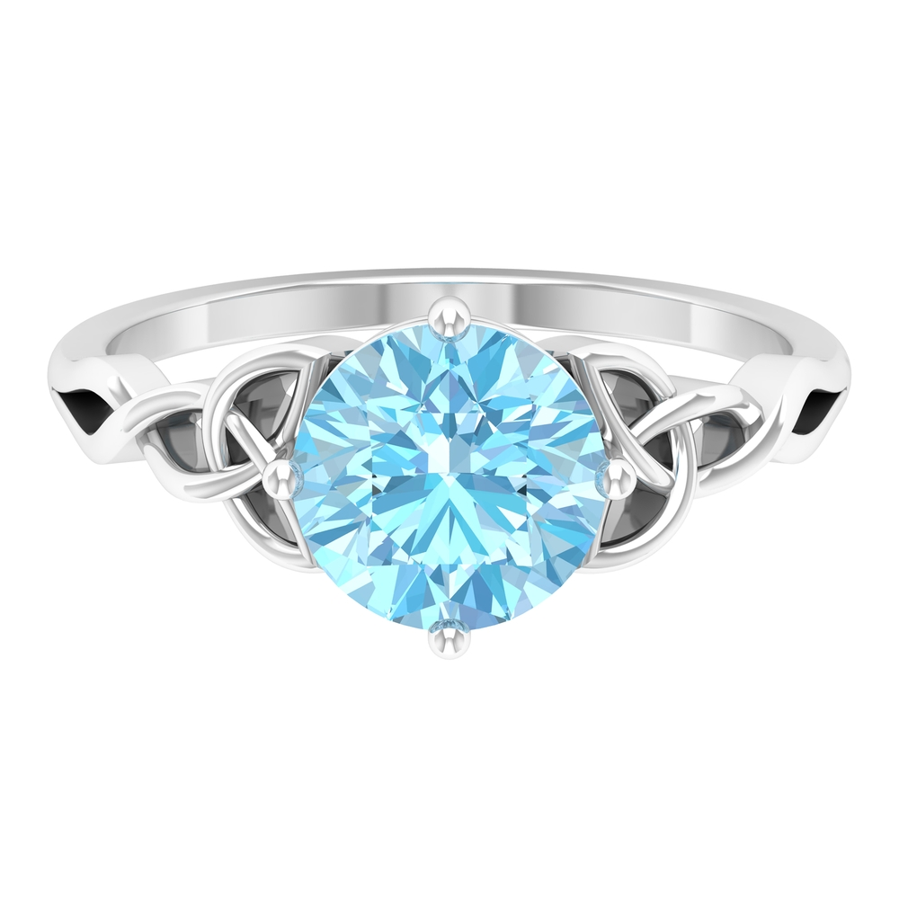2.50 CT Solitaire Aquamarine Celtic Engagement Ring in 4 Prong Diagonal Setting