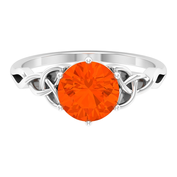 3/4 CT Solitaire Fire Opal Celtic Engagement Ring in 6 Prong Setting