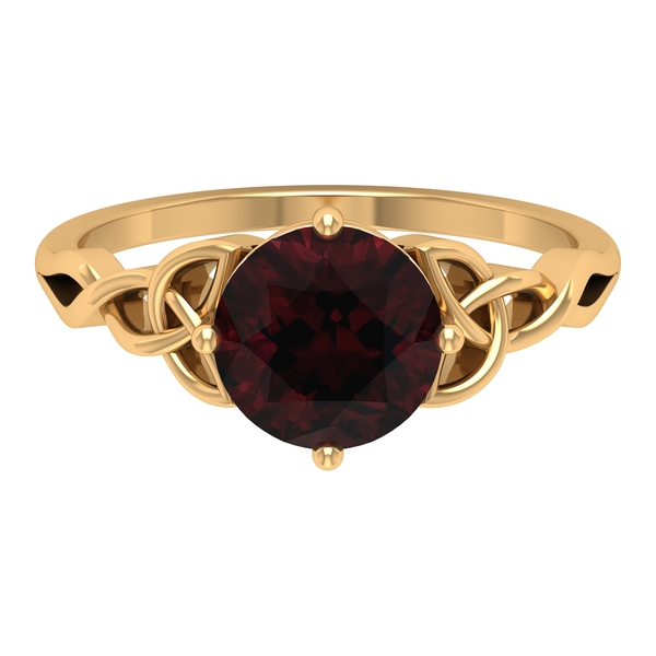 1.75 CT Solitaire Garnet Celtic Engagement Ring in 4 Prong Diagonal Setting