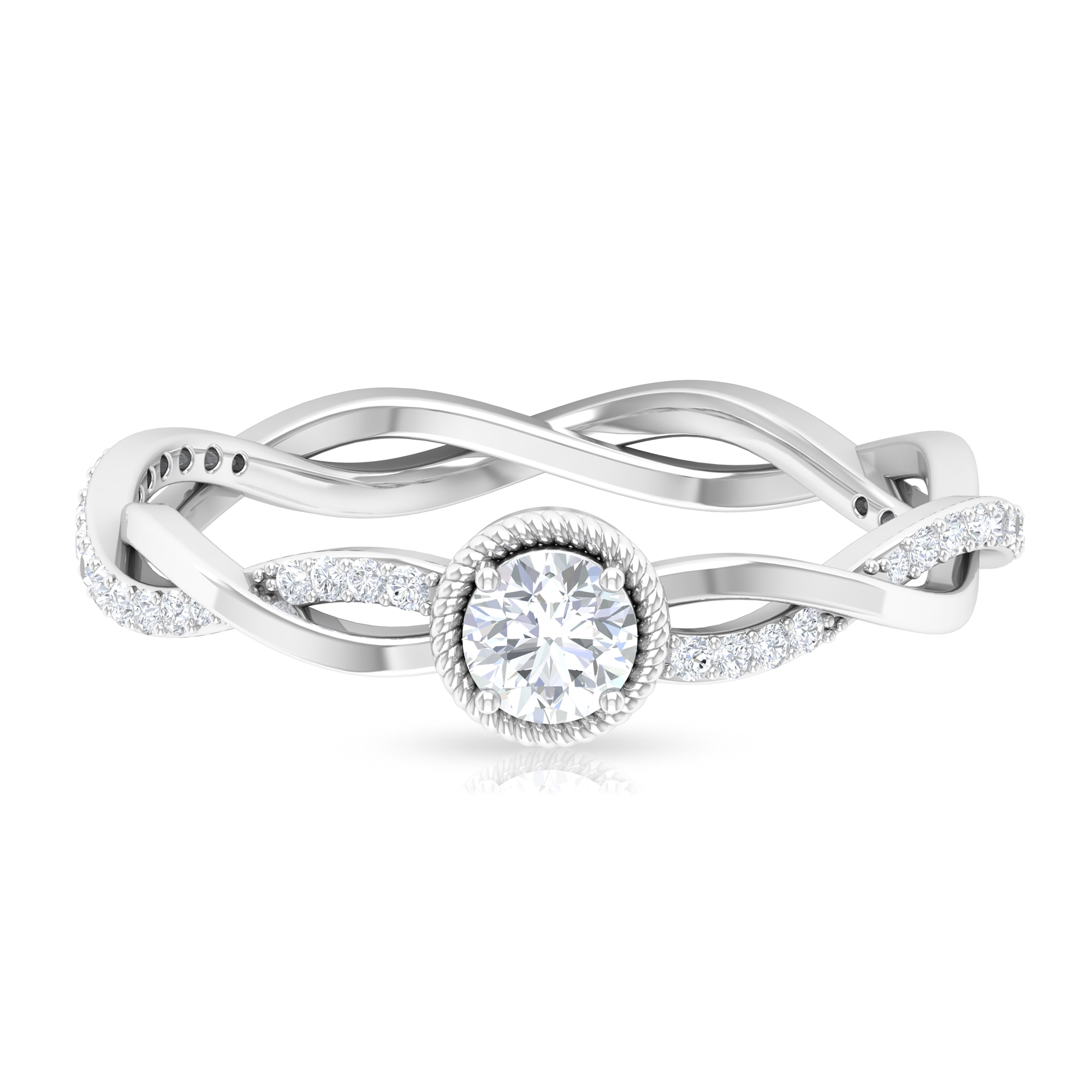 1/2 CT Diamond Solitaire and Gold Braided Engagement Ring with Accent