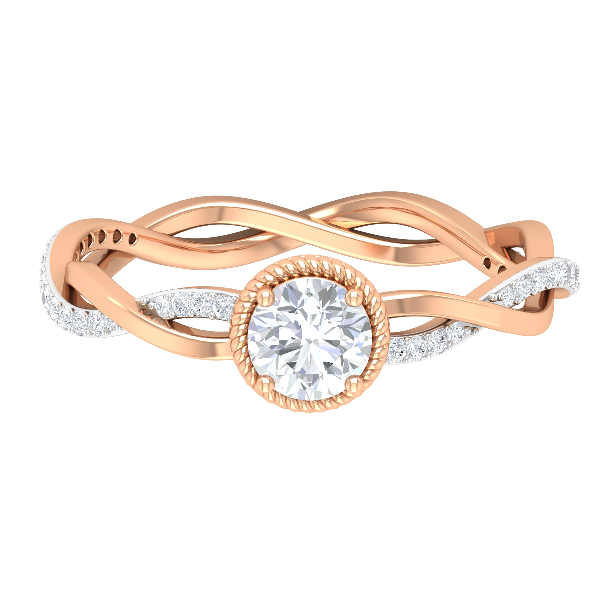 3/4 CT Prong Set Rope Frame Solitaire Diamond Braided Ring
