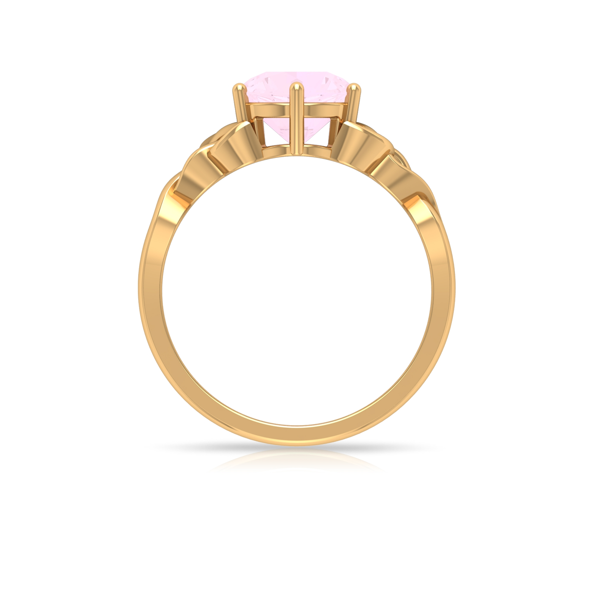 1/4 CT Solitaire Rose Quartz Celtic Engagement Ring in 6 Prong Setting
