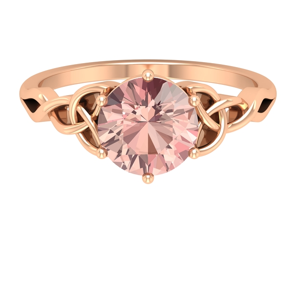 3/4 CT Solitaire Morganite Celtic Engagement Ring in 6 Prong Setting