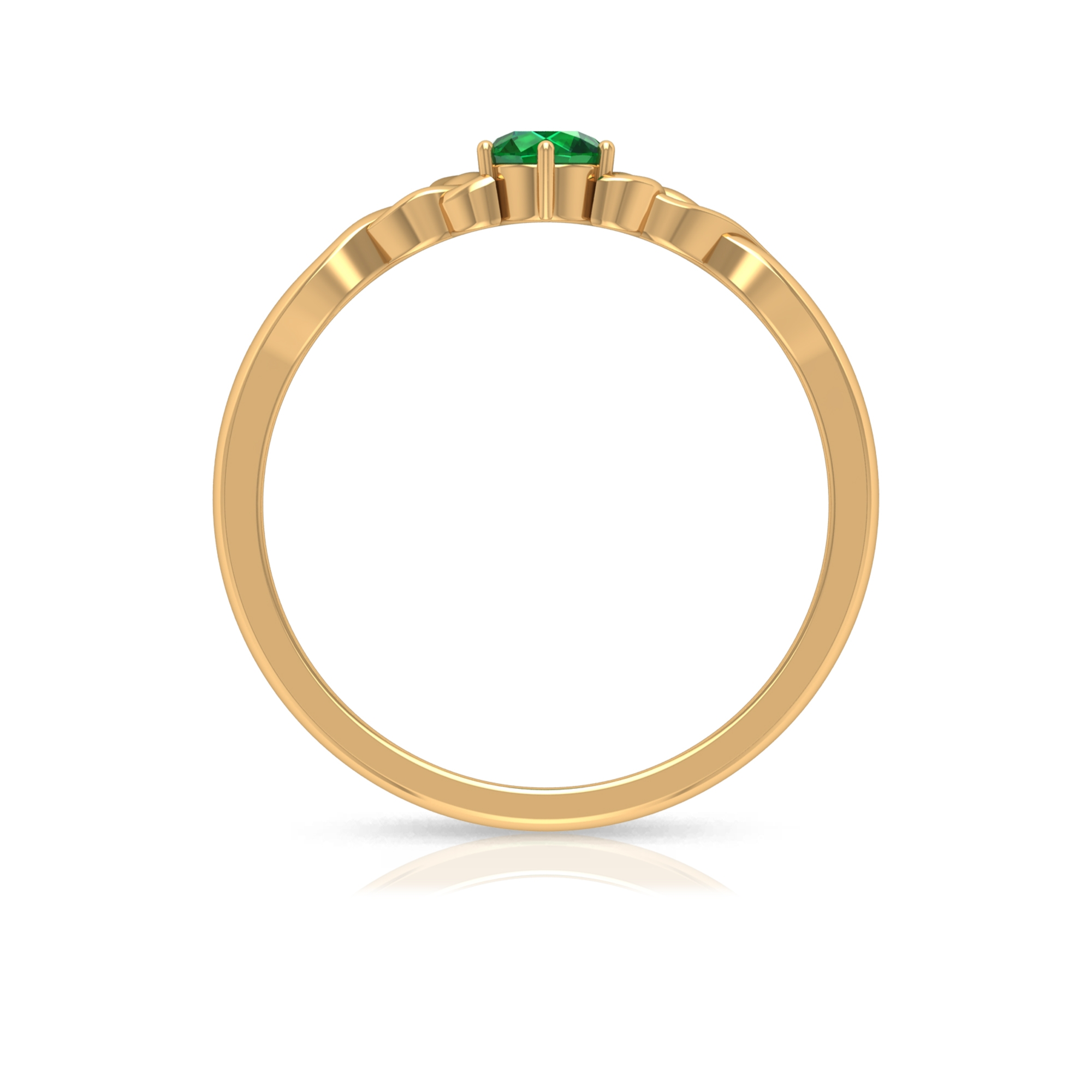 May Birthstone 4 MM Emerald Solitaire Ring in 6 Prong Setting with Celtic Pattern
