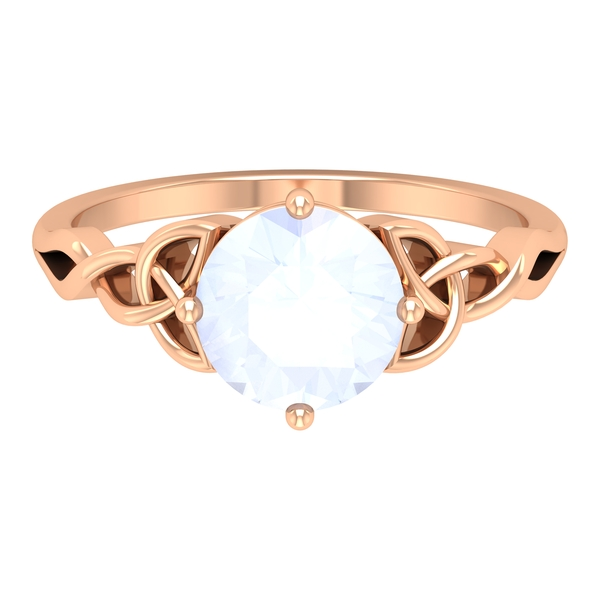 3/4 CT Solitaire Moonstone Celtic Engagement Ring in 4 Prong Diagonal Setting