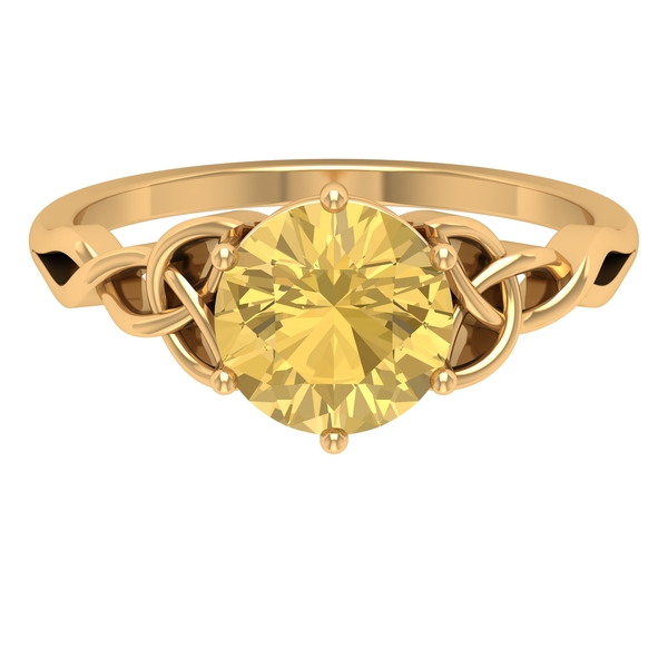 2 CT Solitaire Citrine Celtic Engagement Ring in 6 Prong Setting