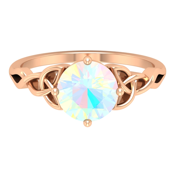 3/4 CT Solitaire Ethiopian Opal Celtic Engagement Ring in 4 Prong Diagonal Setting