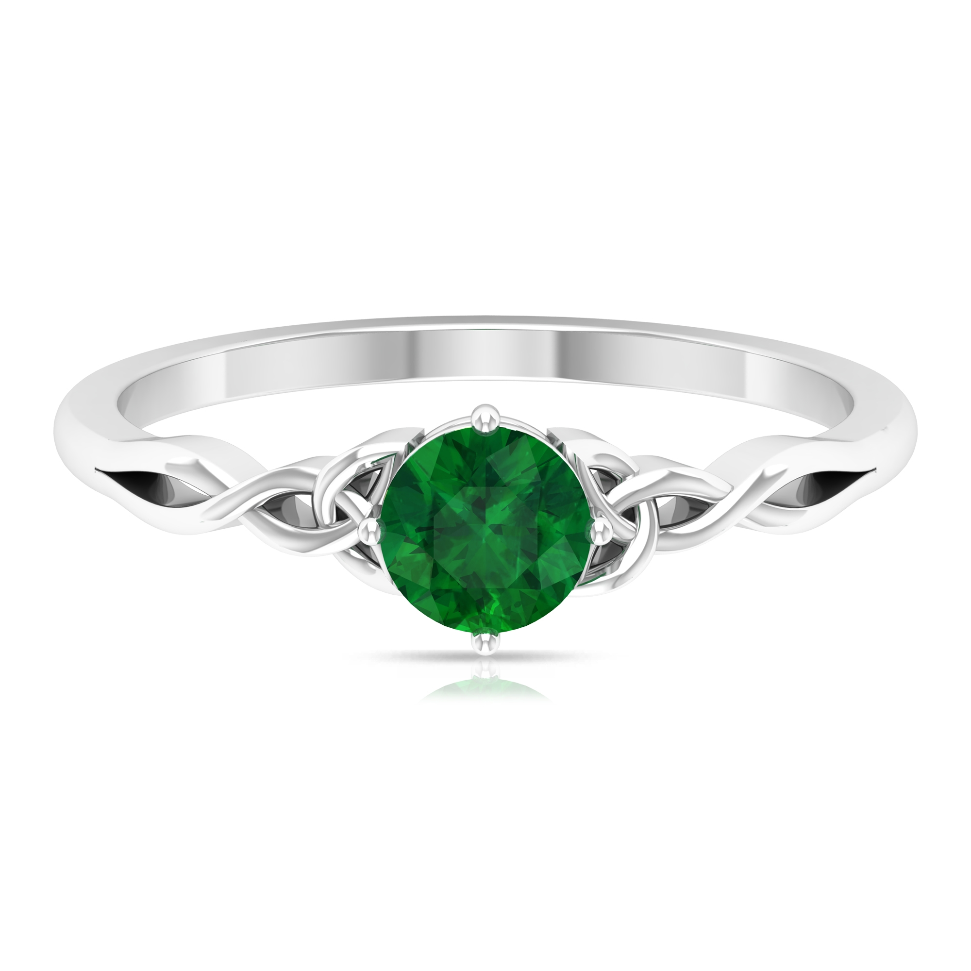 May Birthstone 5 MM Emerald Solitaire Ring in 4 Prong Diagonal Setting with Celtic Pattern