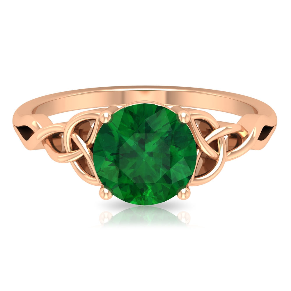 May Birthstone 8 MM Four Prong Set Round Cut Emerald Solitaire Celtic Ring