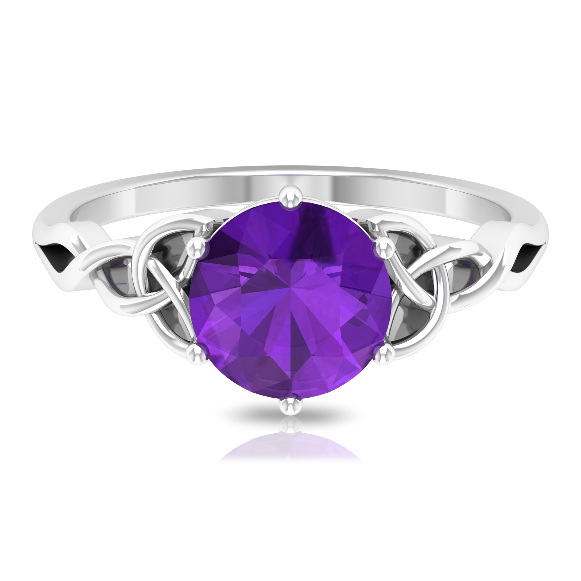 1.75 CT Solitaire Amethyst Celtic Engagement Ring in 6 Prong Setting