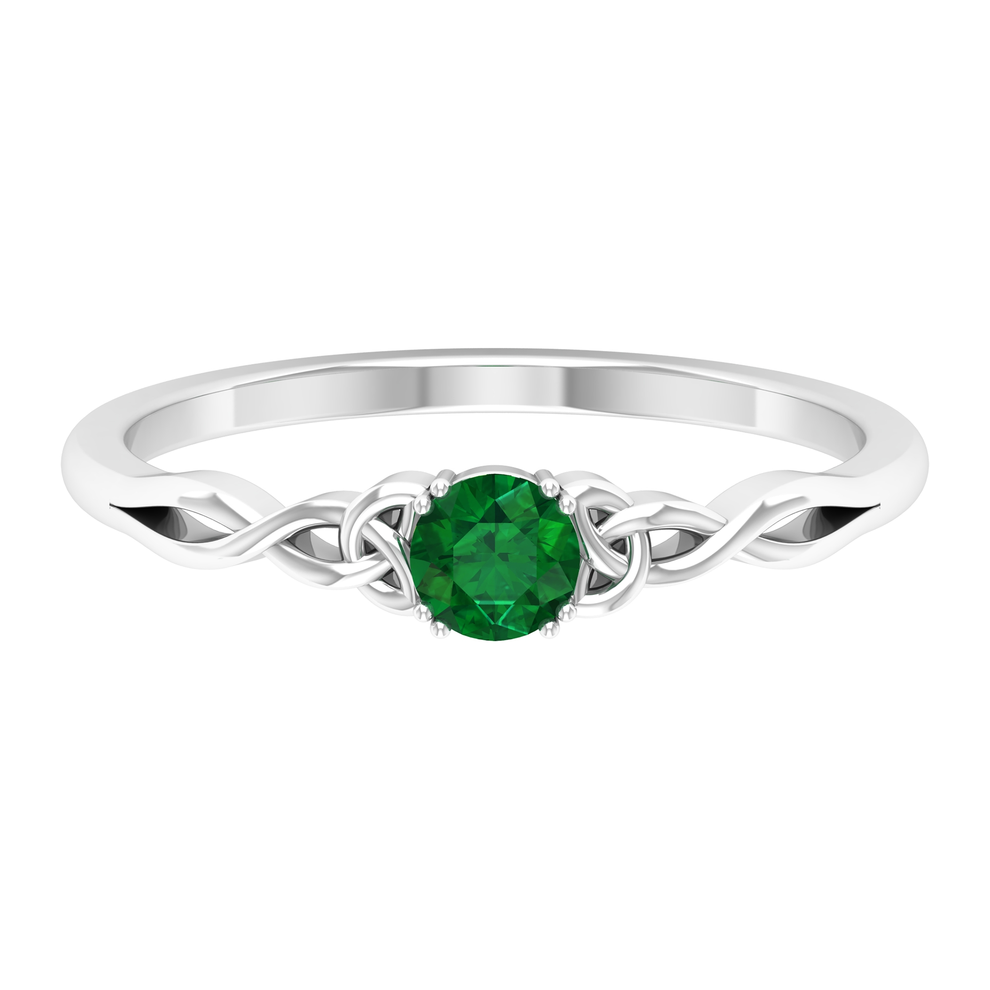 4 MM Round Cut Emerald Solitaire Ring in Double Prong Setting with Celtic Shank