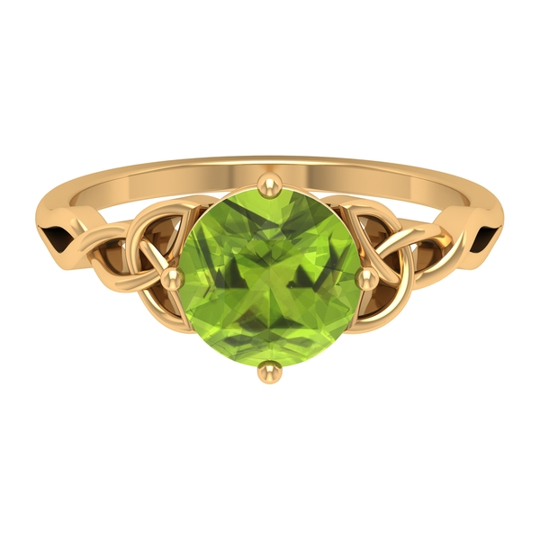 2 CT Solitaire Peridot Celtic Engagement Ring in 4 Prong Diagonal Setting
