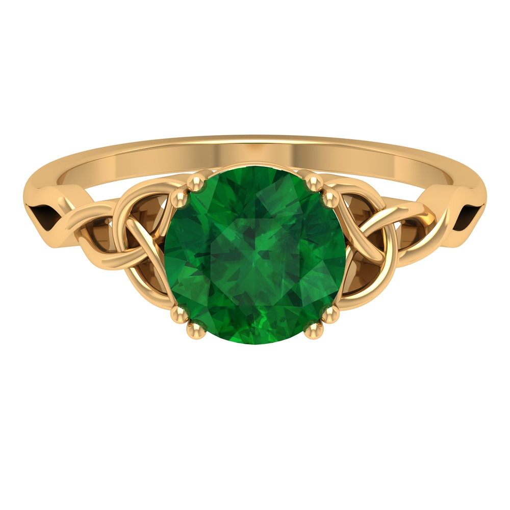 May Birthstone 8 MM Double Prong Set Round Cut Emerald Solitaire Celtic Ring