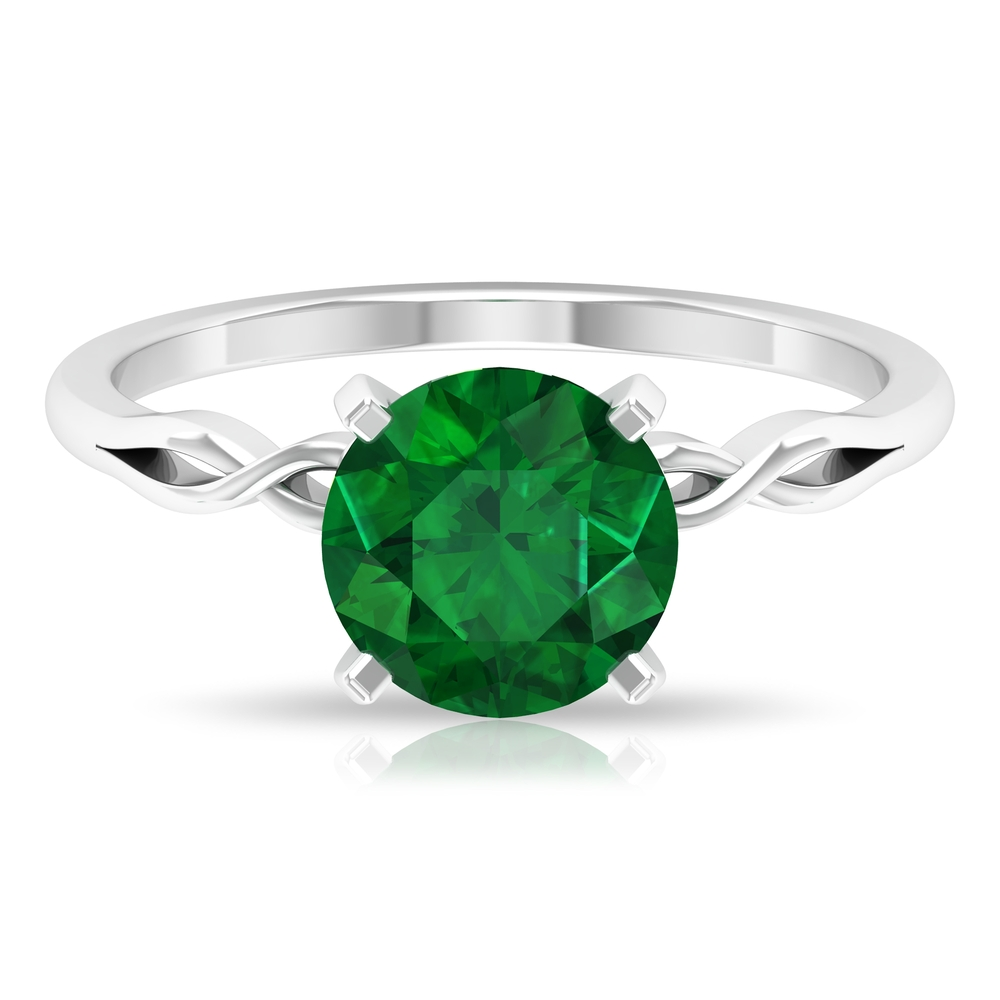 8 MM Square Prong Set Round Cut Emerald Solitaire Celtic Ring