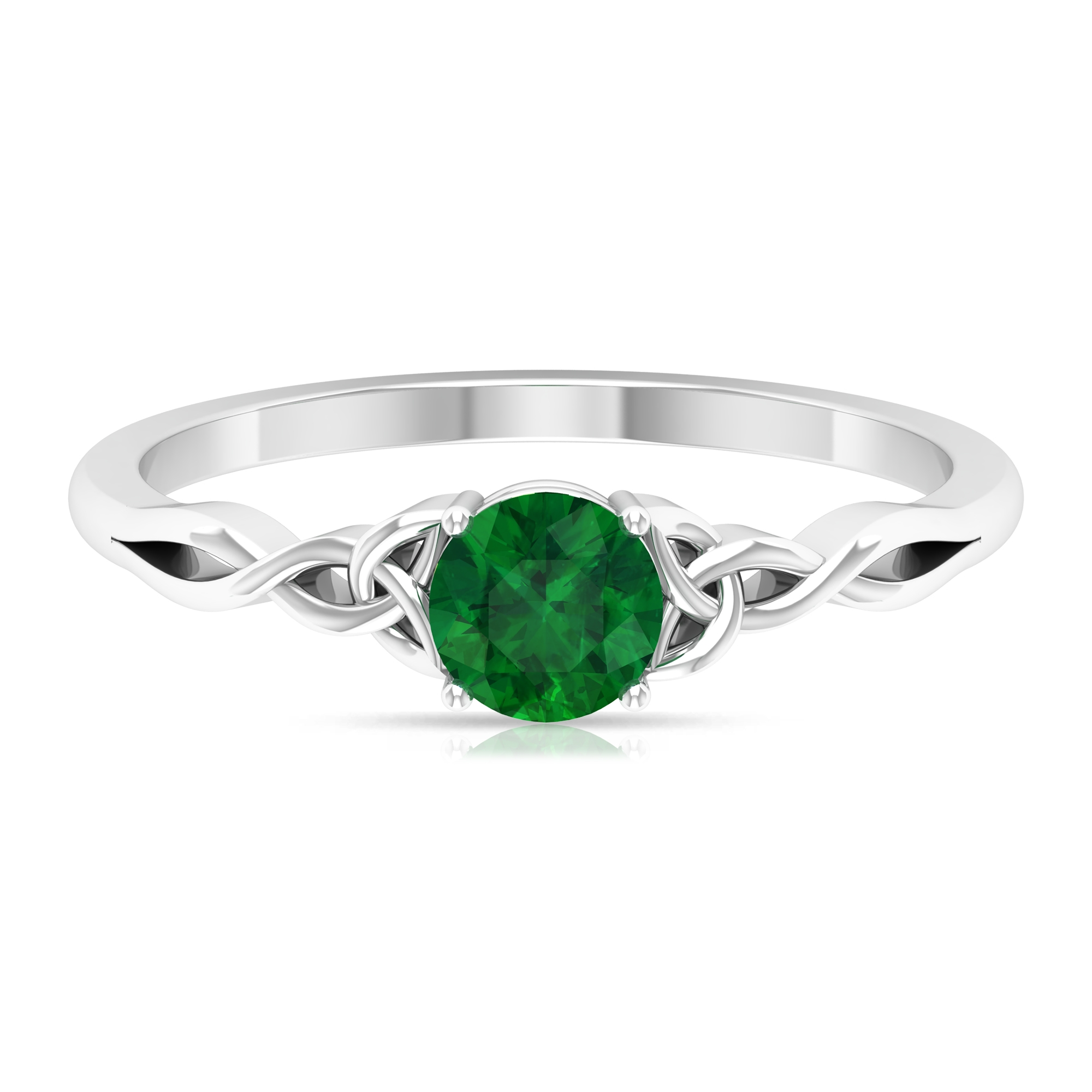 May Birthstone 5 MM Emerald Solitaire Ring in 4 Prong Setting with Celtic Pattern