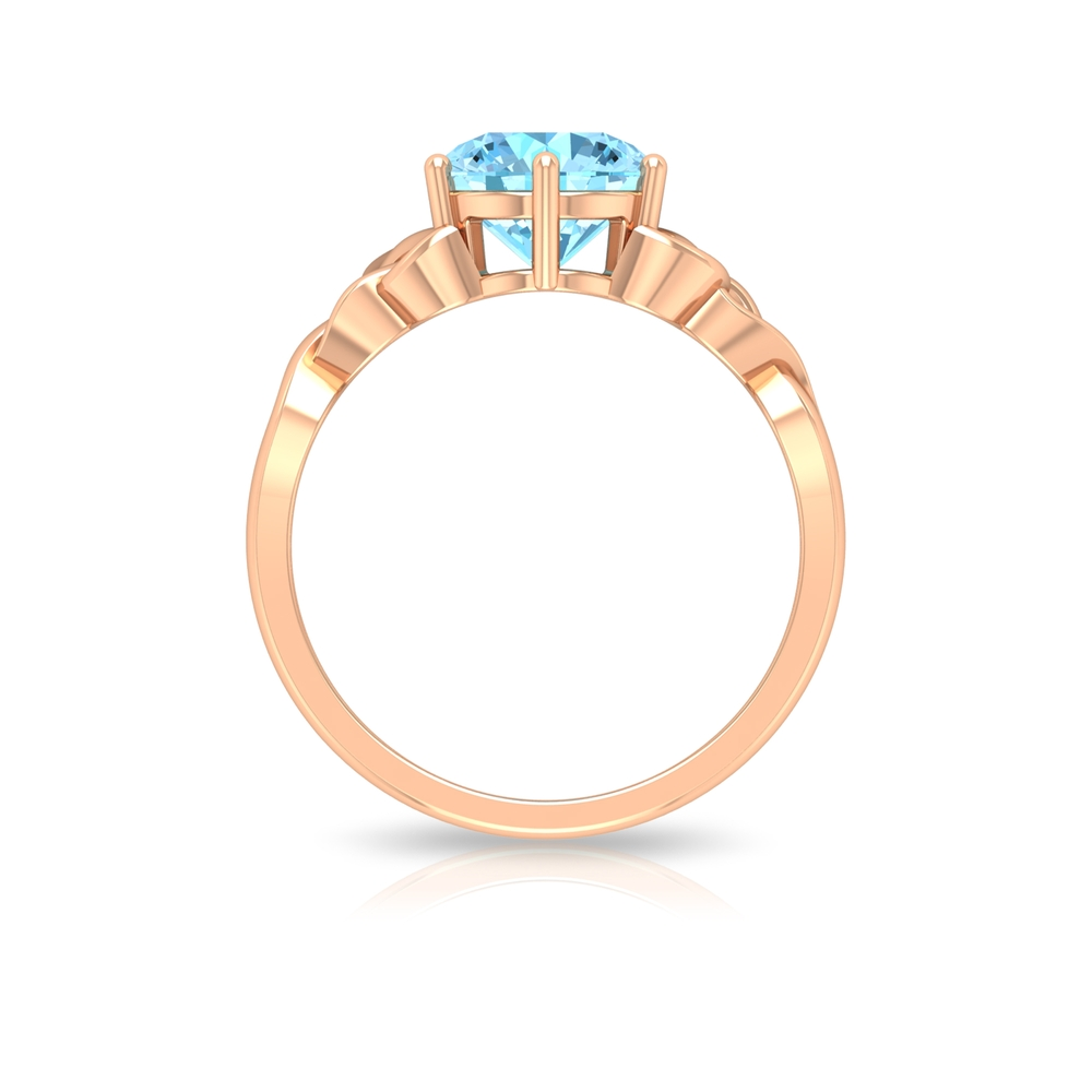 2.50 CT Solitaire Aquamarine Celtic Engagement Ring in 6 Prong Setting